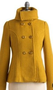 Tulle Mustard Yellow Jacket With Shawl Collar